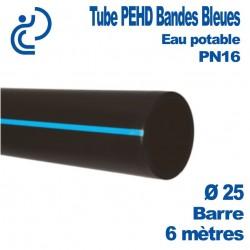 Tube PEHD Bandes Bleues D25 NF PN16 Barres de 6ML
