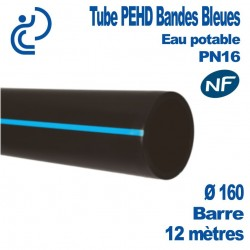 Tube PEHD Bandes Bleues D160 barre de 12ml