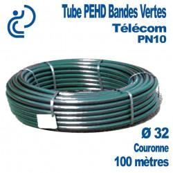 Tube PEHD Bandes Vertes Ø32 couronne de 100ml PN10