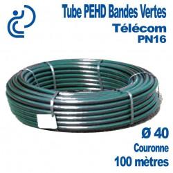 Tube PEHD Bandes Vertes Ø40 couronne de 100ml PN16