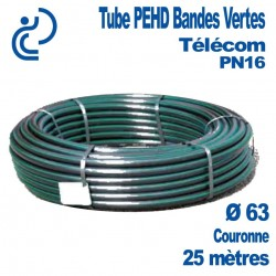 Tube PEHD Bandes Vertes Ø63 couronne de 25ml PN16