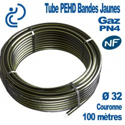 TUBE PEHD Bandes Jaunes D32 NF PN4 Couronne de 100ml