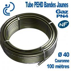 TUBE PEHD Bandes Jaunes D40 NF PN4 Couronne de 100ml