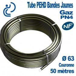 TUBE PEHD Bandes Jaunes D63 NF PN4 Couronne de 50ml