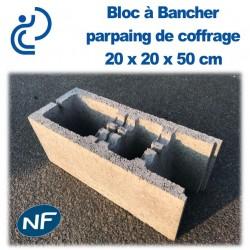 Bloc béton à Bancher 20 x 20 x 50 cm NF Qualité Pro