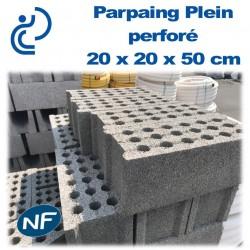 Parpaing Plein perforé 20 x 20 x 50 cm NF Qualité Pro