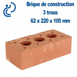 Brique de Construction Rouge 3 trous 65 x 105 x 220 mm