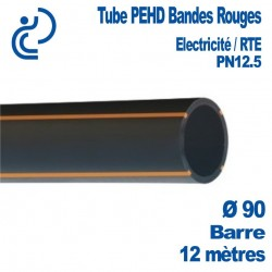 TUBE PEHD Bandes rouges D90 barre de 12ml pn12.5