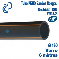 TUBE PEHD Bandes Rouges NF D160 PN12.5 Barres 6ml