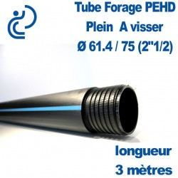 "Tube Forage PEHD 61.4x75 (2.5"") plein longueur de 3ml"