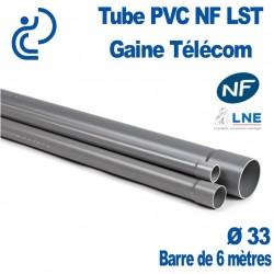 Tube PVC NF LST Ø33 Gaine Télécom longueur 6 mètres