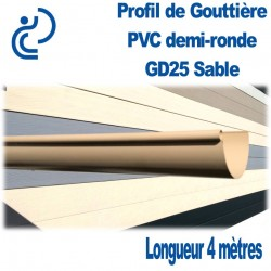 GOUTTIERE PVC DEMI RONDE GD25 SABLE