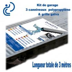 Kit de garage ( 3 caniveaux de 1ml, grille galva & accessoires )