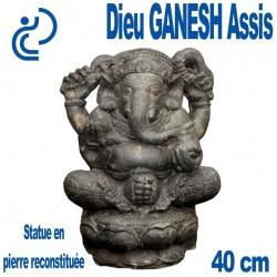 Statue Dieu Ganesh Assis en Pierre Reconstituée Hauteur 40cm