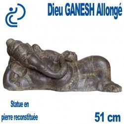 Statue Dieu Ganesh Allongé en Pierre Reconstituée longueur 51cm