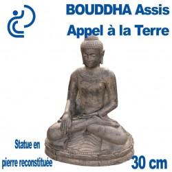 Statue de Bouddha Assis Appel à la Terre en Pierre Reconstituée 30cm