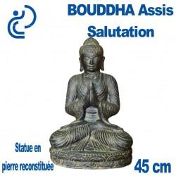 Statue de Bouddha Assis Salutation en Pierre Reconstituée 45cm