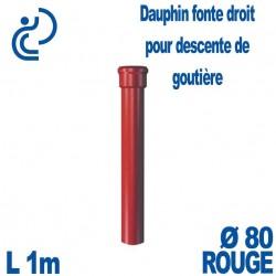 Dauphin Fonte Droit Ø80 finition Rouge longueur 1 mètre