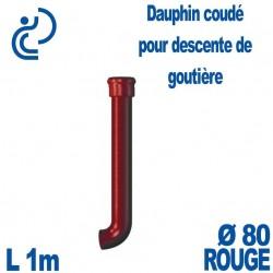 Dauphin Fonte Coudé Ø80 finition Rouge longueur 1 mètre