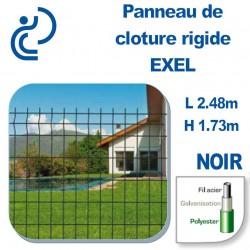 Panneau de Clôture Rigide Exel Noir Hauteur 1.73m