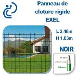 Panneau de Clôture Rigide Exel Noir Hauteur 1.03m