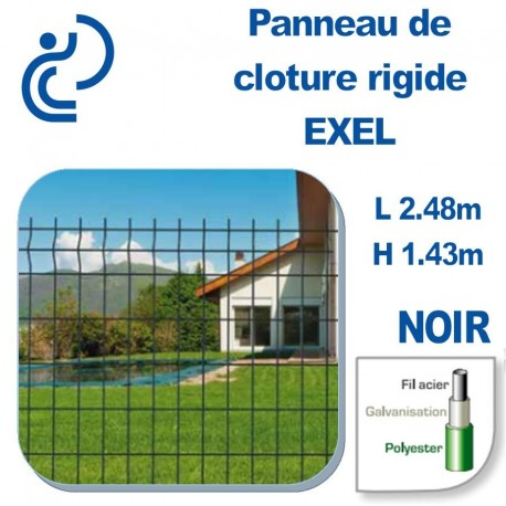 Panneau de Clôture Rigide Exel Noir Hauteur 1.43m