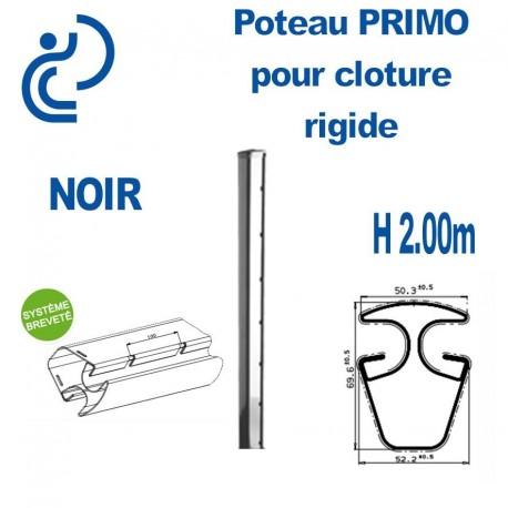 Poteau de Clôture Rigide Primo Noir Hauteur 2.00m