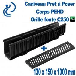 Caniveau PEHD Prêt à poser 130x150x1000mm grille fonte C250