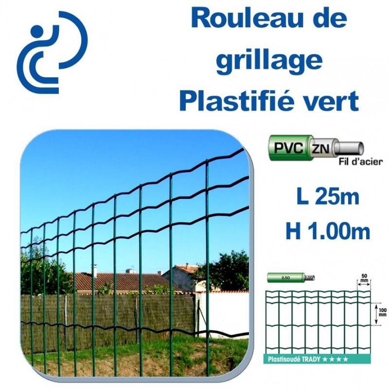 Grillage Plastifié Vert Hauteur 1m En Rouleau De 25ml