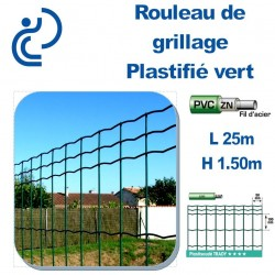 Grillage Plastifié Vert Hauteur 1.50m en rouleau de 25ml