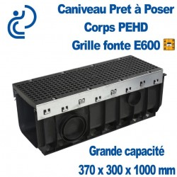 Caniveau PEHD Prêt à poser 370x300x1000mm grille fonte E600