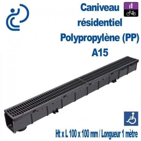 Caniveau tout Polypropylène 100x100x1000mm grille passerelle A15