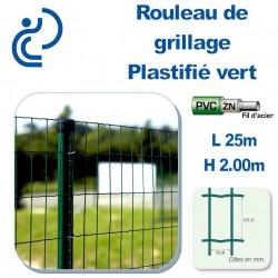 Grillage Plastifié Vert Hauteur 2.00m en rouleau de 25ml