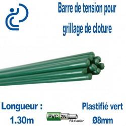 Barre de Tension Plastifiés Vert 1.30m pour clôture grillagée