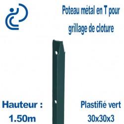 Poteaux Métal en T Vert Hauteur 1.50m