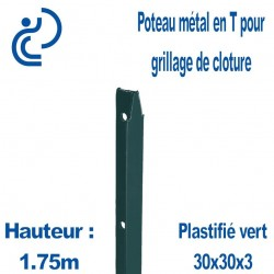Poteaux Métal en T Vert Hauteur 1.75m