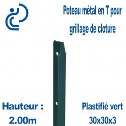Poteaux Métal en T Vert Hauteur 2.00m