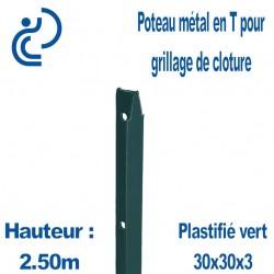 Poteaux Métal en T Vert Hauteur 2.50m