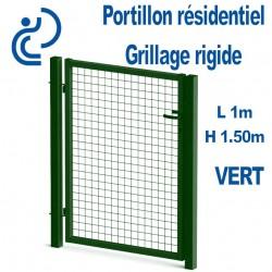 Portillon Standard Grillagé Vert 1mx1.50m serrure intégrée