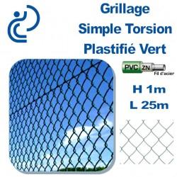 Grillage Simple Torsion Plastifié Vert Hauteur 1m en rouleau de 25 mètres.