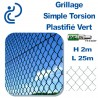 Grillage Simple Torsion Plastifié Vert Hauteur 2m en rouleau de 25 mètres.