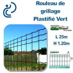 Grillage Plastifié Vert Hauteur 1m20 en rouleau de 25ml