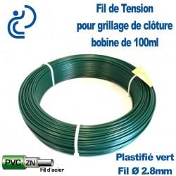 Fil de Tension Plastifiés Vert 2.80mm pour clôture grillagée (bobine de 100ml)