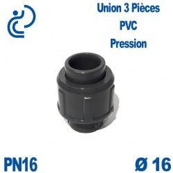 Union 3 Pièces D16 Femelle Femelle PN16 PVC Pression