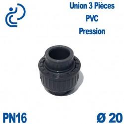 Union 3 Pièces D20 Femelle Femelle PN16 PVC Pression