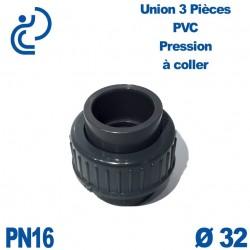 Union 3 Pièces D32 Femelle Femelle PN16 PVC Pression
