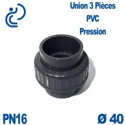 Union 3 Pièces D40 Femelle Femelle PN16 PVC Pression
