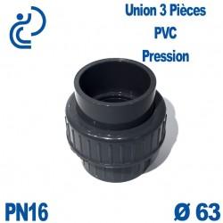 Union 3 Pièces D63 Femelle Femelle PN16 PVC Pression