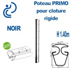 Poteau de Clôture Rigide Primo Noir Hauteur 1.40m