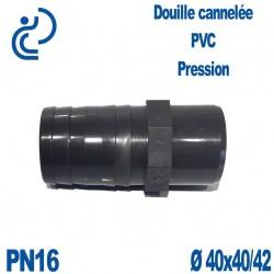 Douille Cannelée D40x40/42 Mâle Mâle PVC Pression